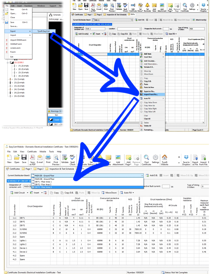 ElectricalOM Tysoft EasyCert Export