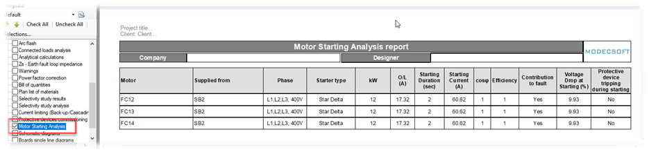 motor analysis report
