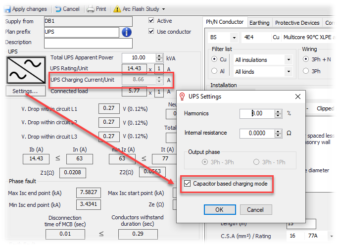 Capacitor based UPS charging mode