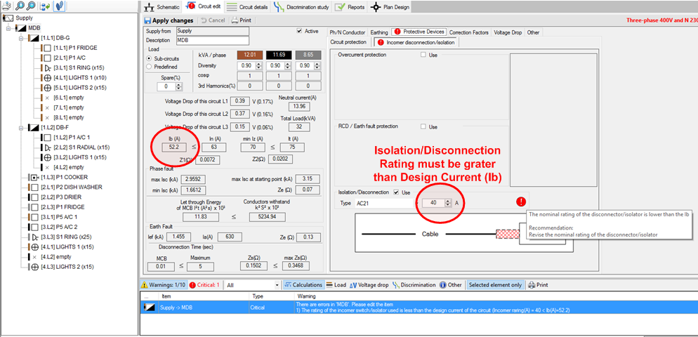 Rating of the Incomer Switch/Isolator Check